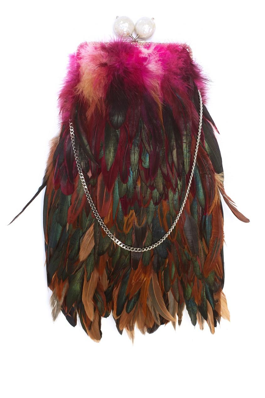 Шелковый клатч с перьями Dragonfly