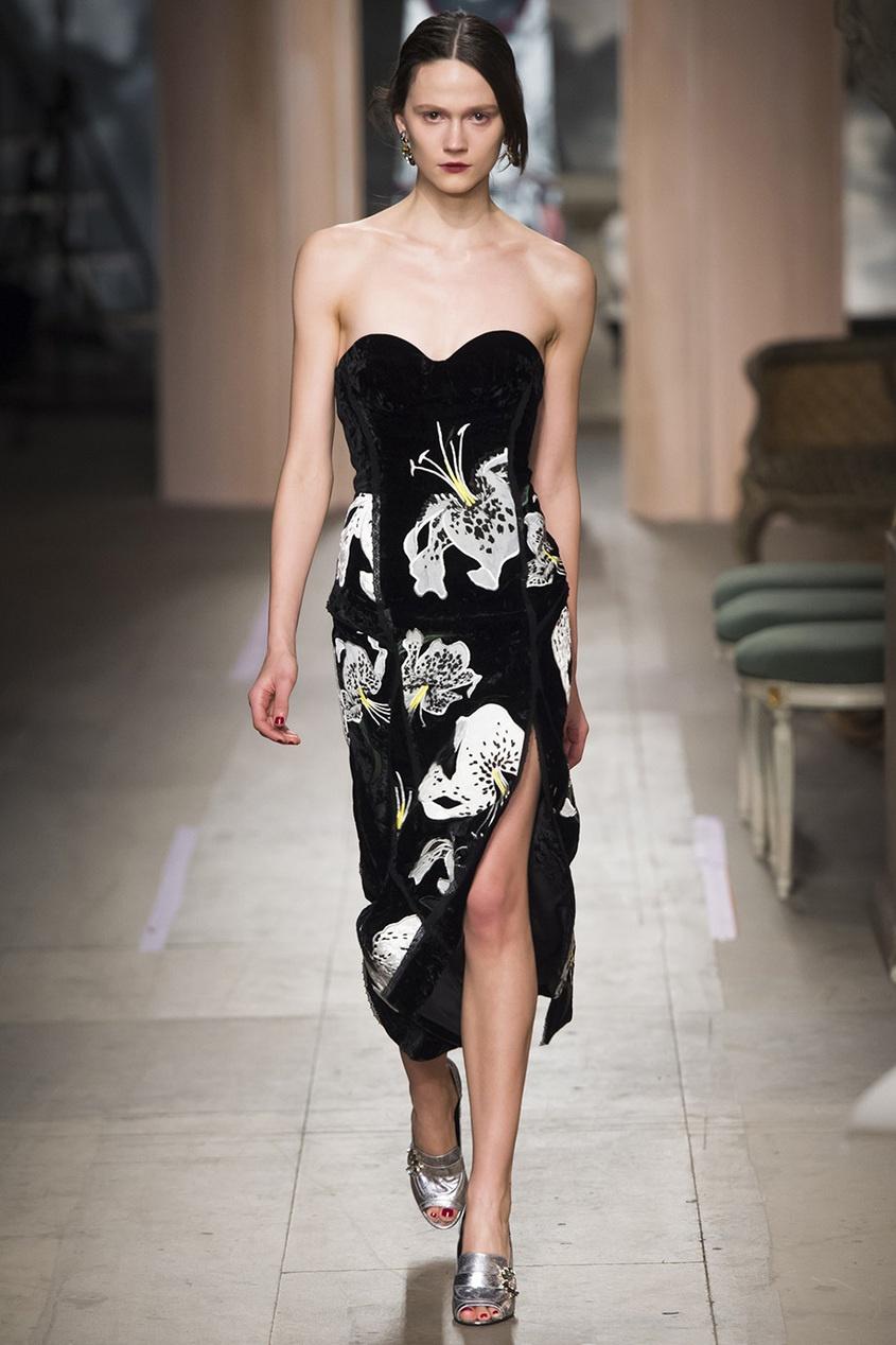 Бархатное платье-бюстье с вышивкой Rebecca