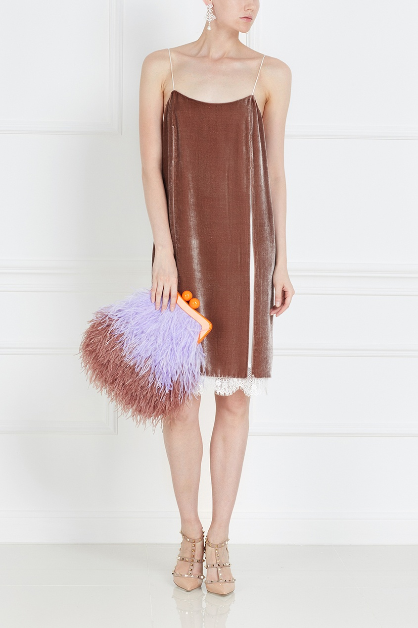 Бархатное платье-комбинация