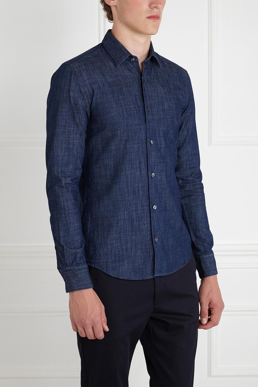 Фото 4 - Хлопковая рубашка синего цвета