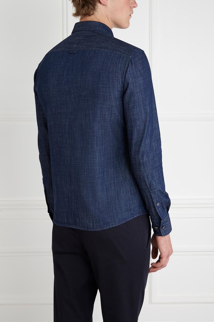 Фото 5 - Хлопковая рубашка синего цвета