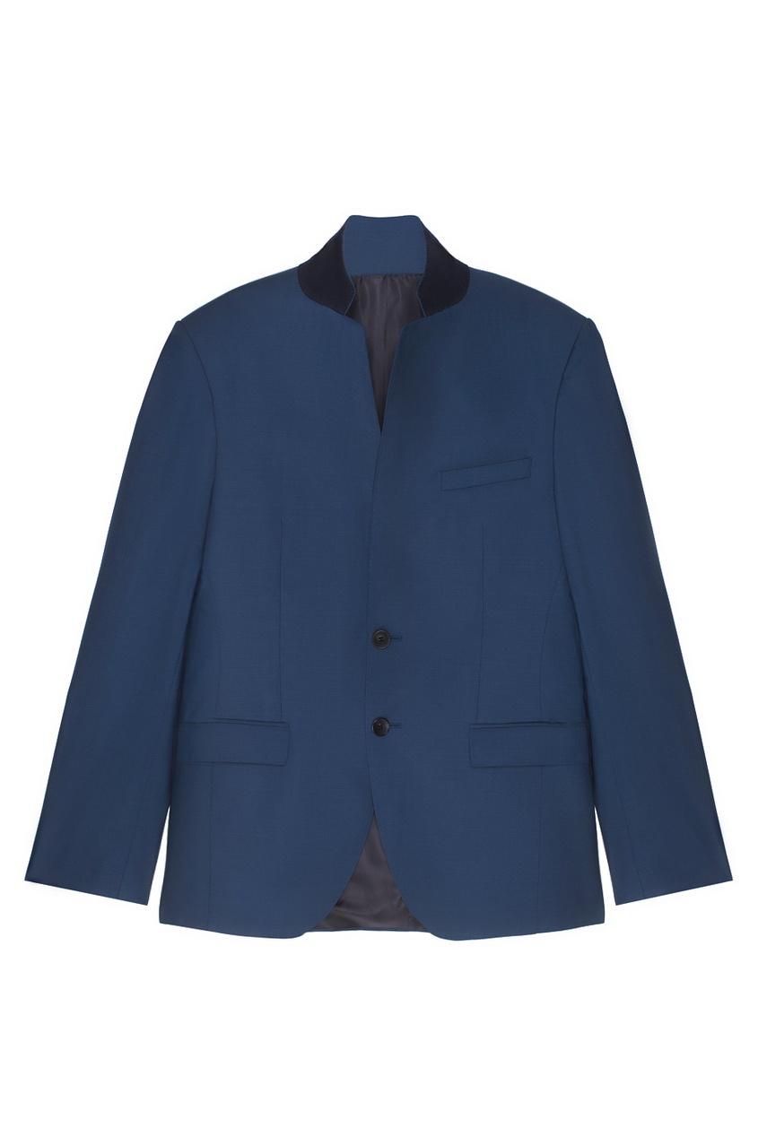 Фото 6 - Шерстяной костюм голубого цвета