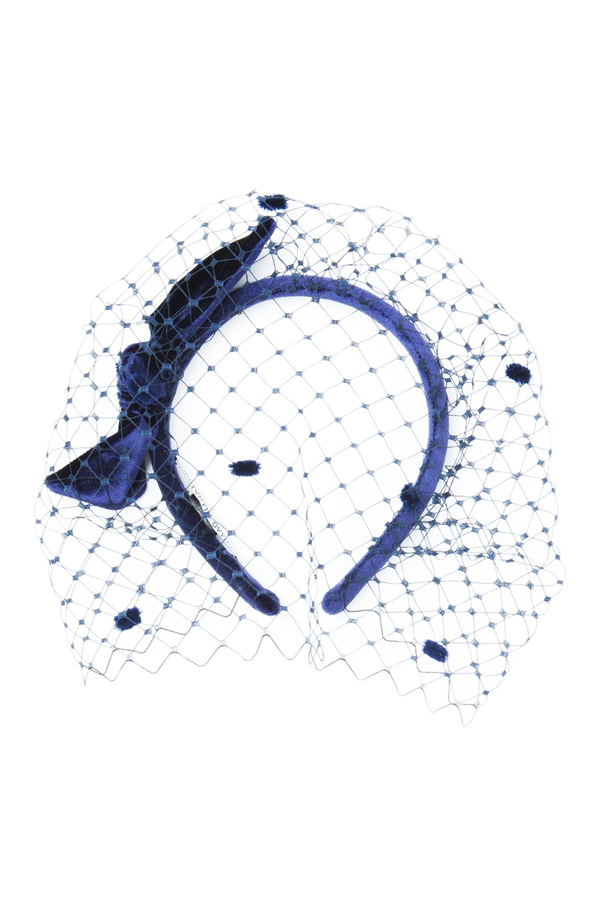 Темно-синий ободок с вуалью
