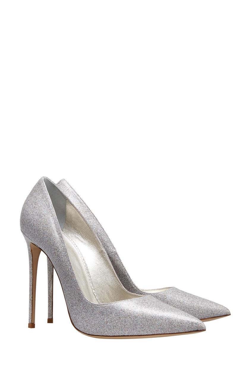 Фото 2 - Кожаные туфли от Le Silla серебрянного цвета