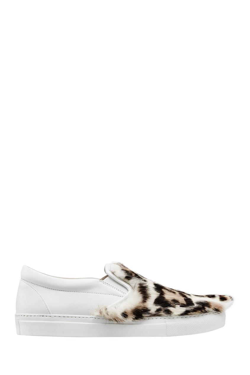 Фото 3 - Кожаные слипоны с мехом от Le Silla белого цвета