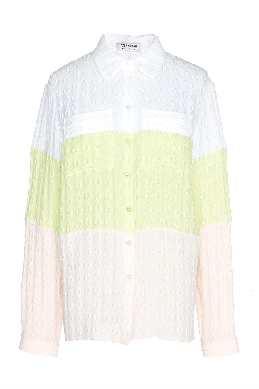 Шелковая трехцветная блуза