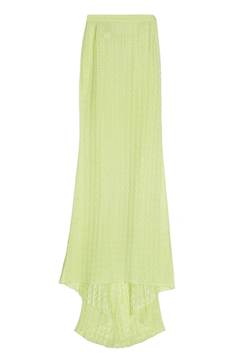 Шелковая салатовая юбка в пол
