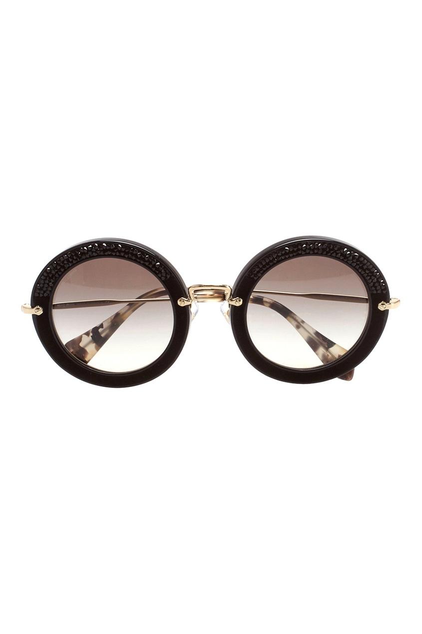 Miu Miu Солнцезащитные очки со стразами vogue vogel очки черного кадра серебряного покрытия линза мода полной оправе очки vo5067sd w44s6g 56мм