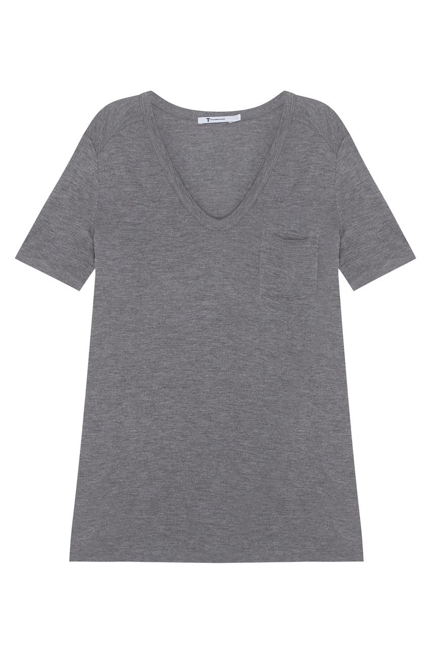 Фото - Однотонная футболка от alexanderwang.t серого цвета