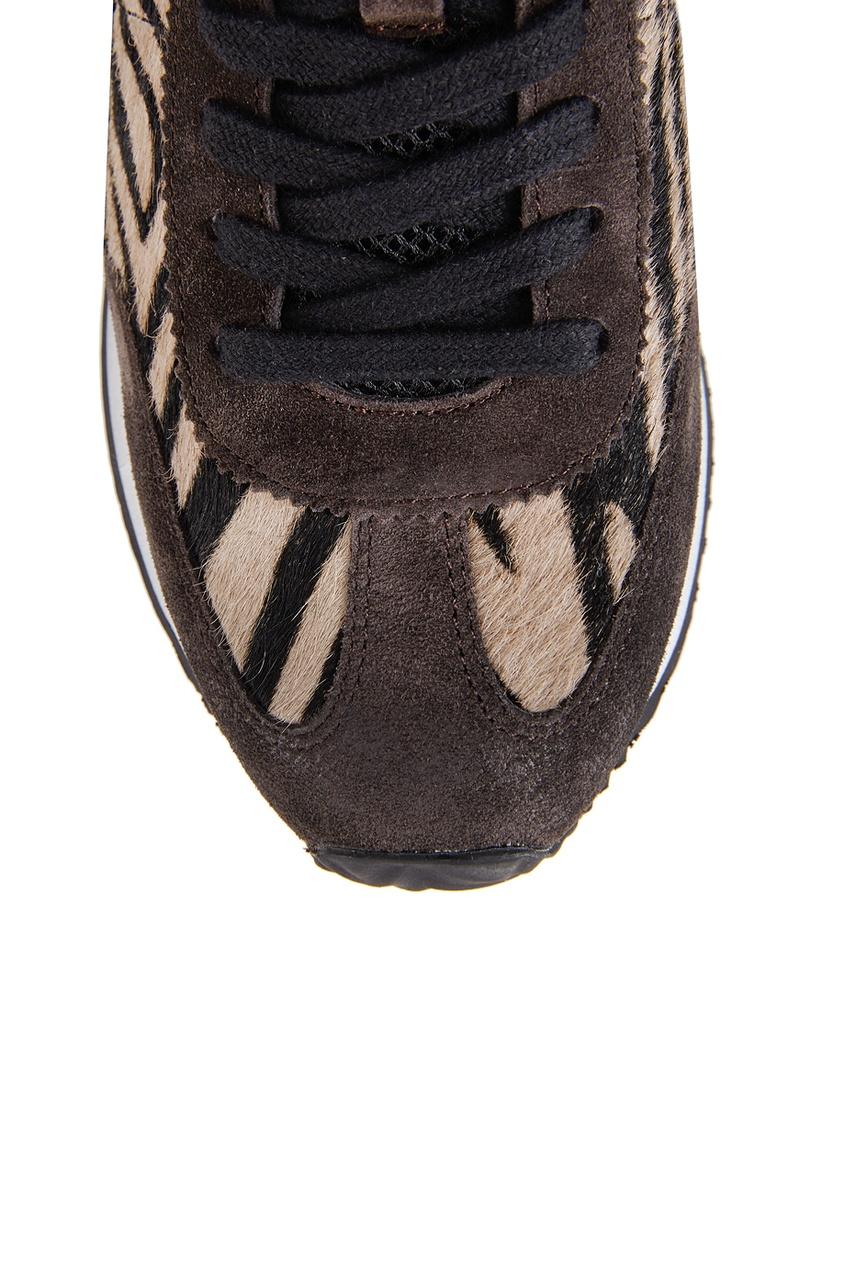 Кожаные кроссовки с мехом пони Blast