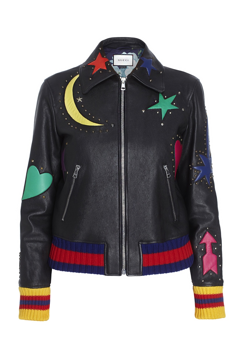 Gucci Кожаный бомбер gucci черный бомбер с карманами