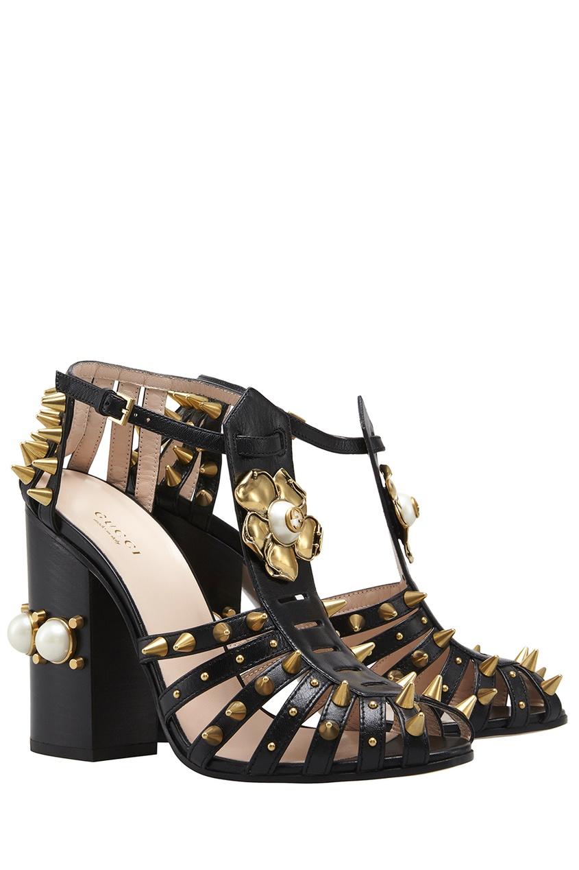 Gucci Кожаные босоножки с жемчугом gucci замшевые туфли с кристаллами и жемчугом