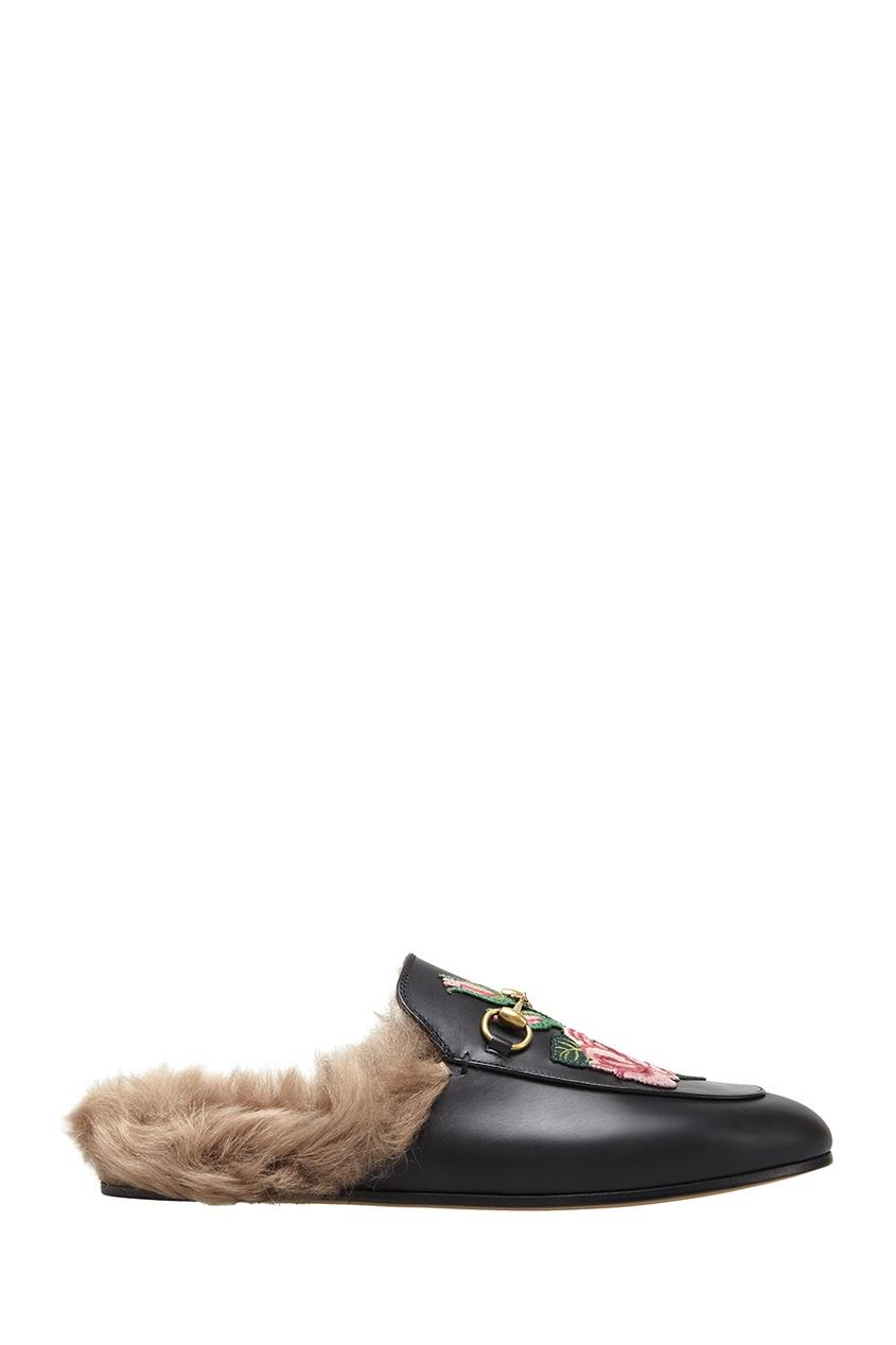 Gucci Слиперы с вышивкой и мехом
