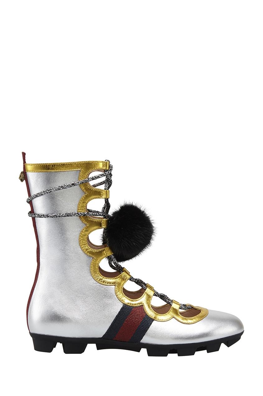 Ботинки из металлизированной кожи