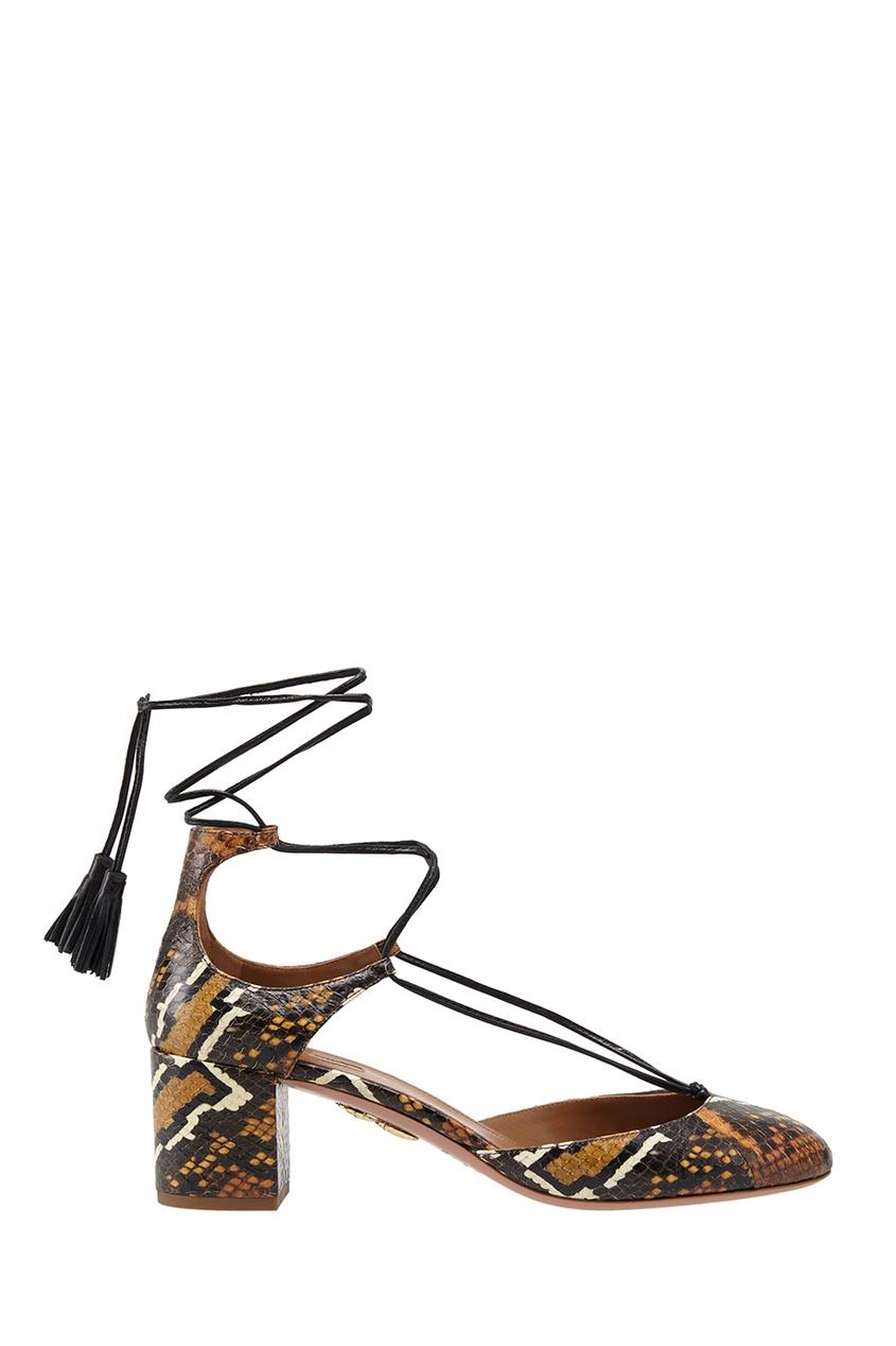 Фото 2 - Туфли из кожи змеи Boheme Pump 50 от Aquazzura коричневого цвета