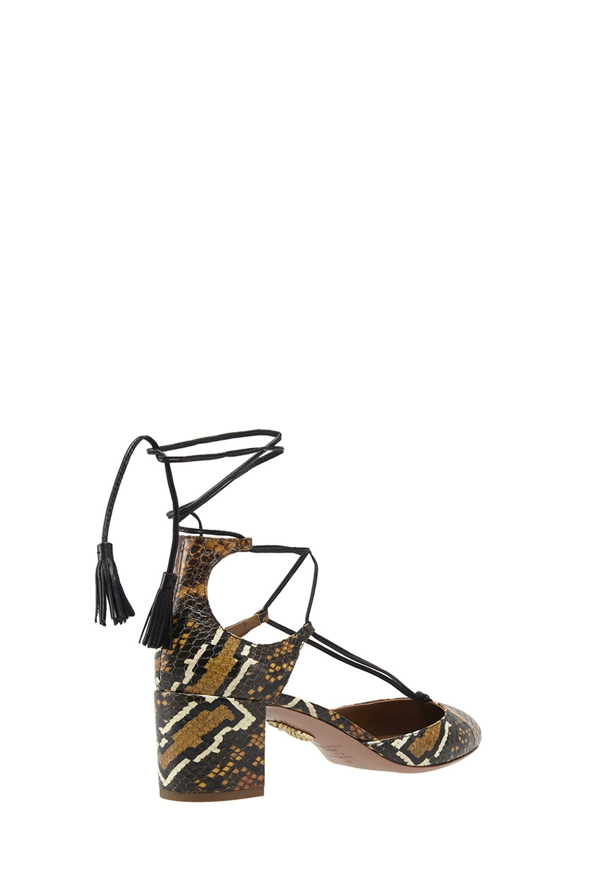 Фото 4 - Туфли из кожи змеи Boheme Pump 50 от Aquazzura коричневого цвета