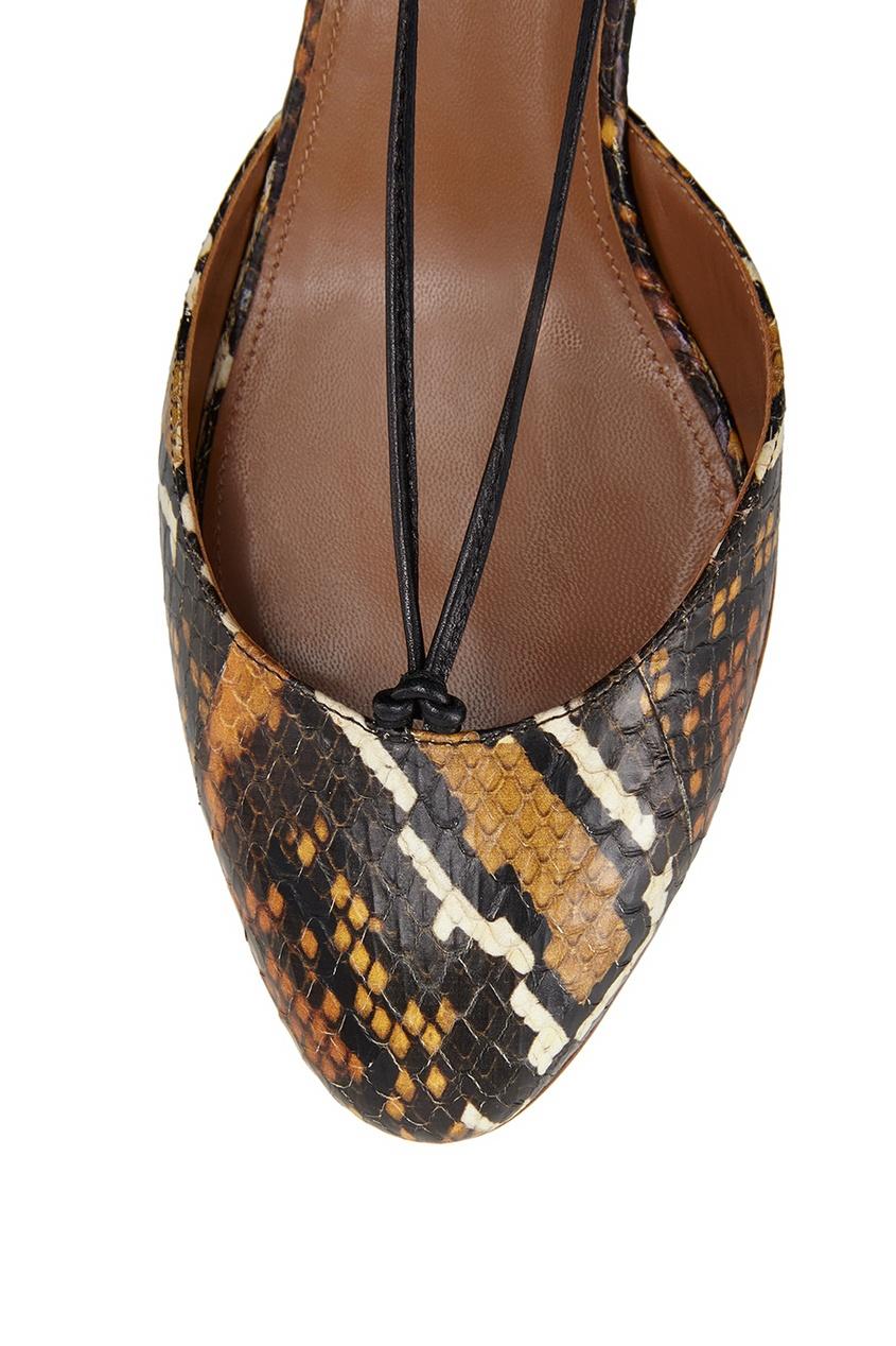 Фото 5 - Туфли из кожи змеи Boheme Pump 50 от Aquazzura коричневого цвета