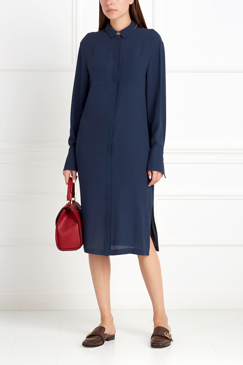 Фото 4 - Шелковое платье от Alena Akhmadullina синего цвета