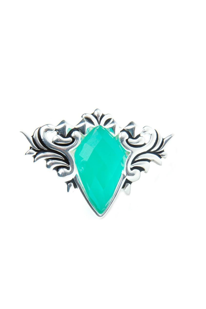 Серебряное кольцо с хризопразом