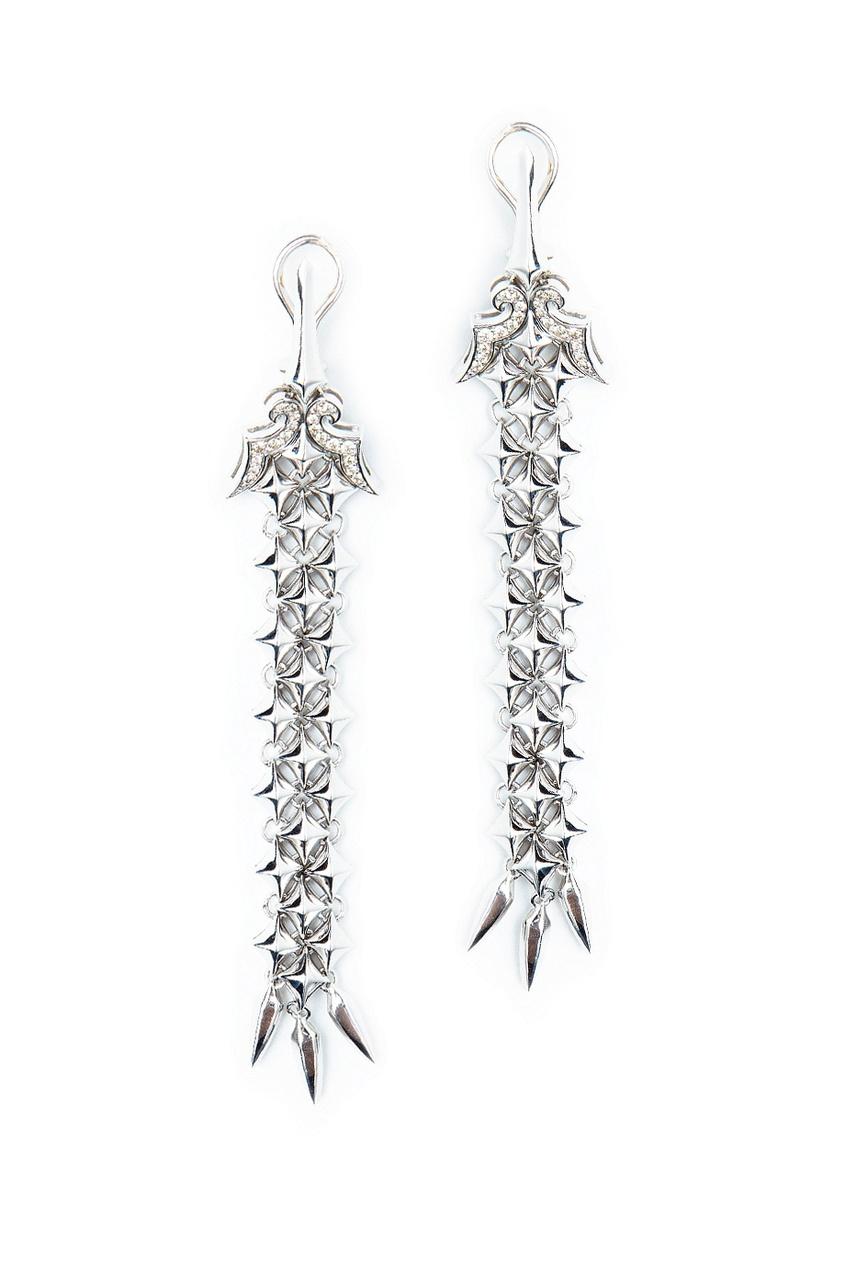 Серебряные длинные серьги