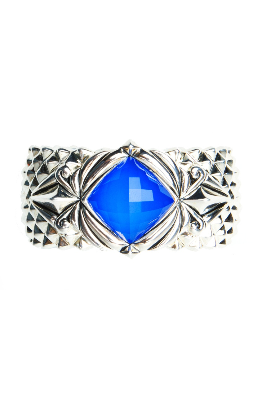 Серебряный браслет с голубым агатом