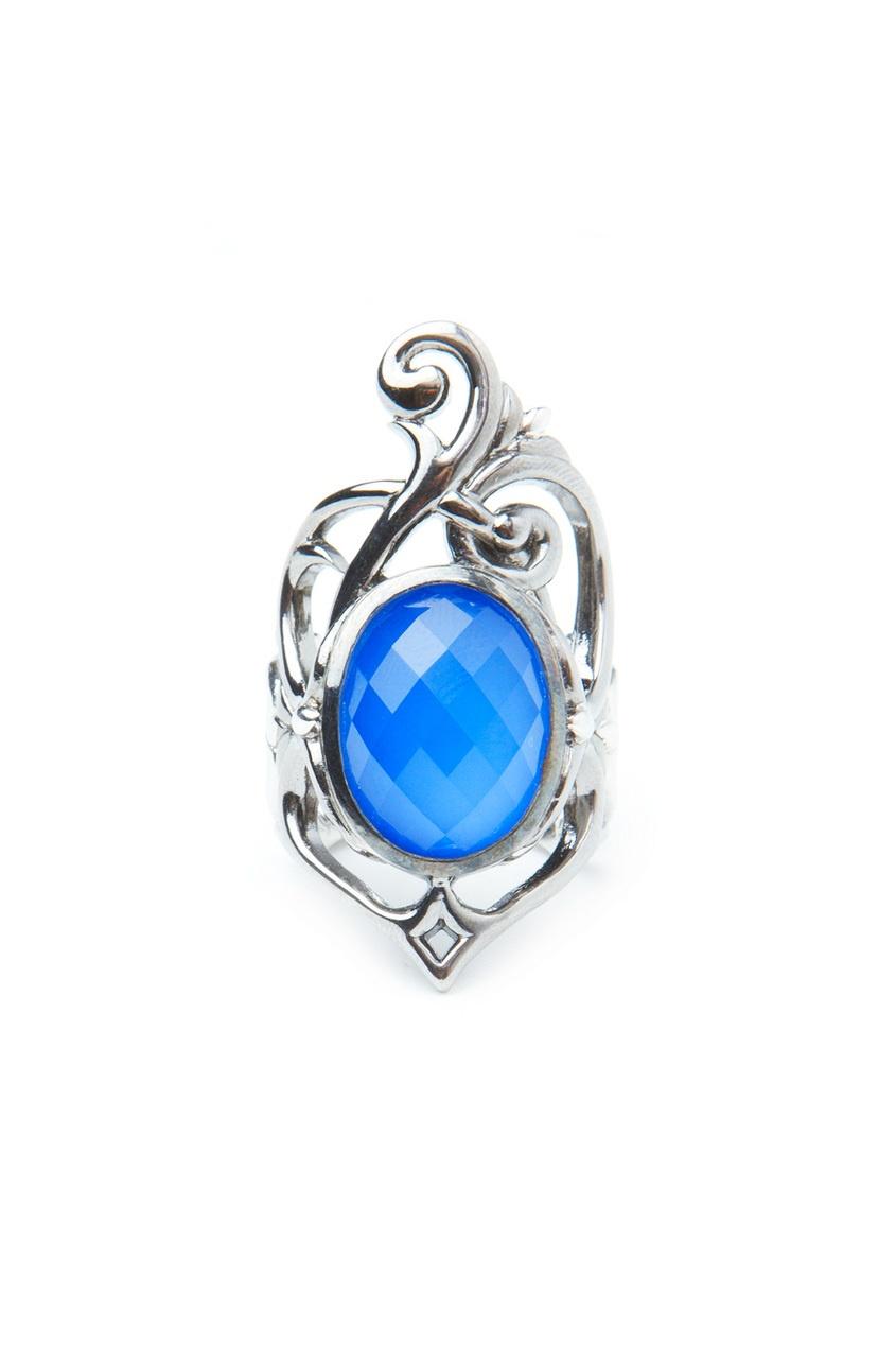 Кольцо из серебра с голубым агатом