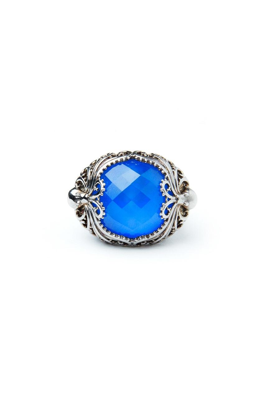 Серебряное кольцо с синим агатом