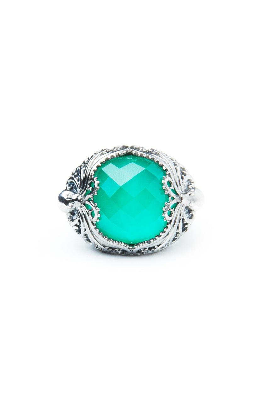 Серебряное кольцо с хризопразом и кварцем