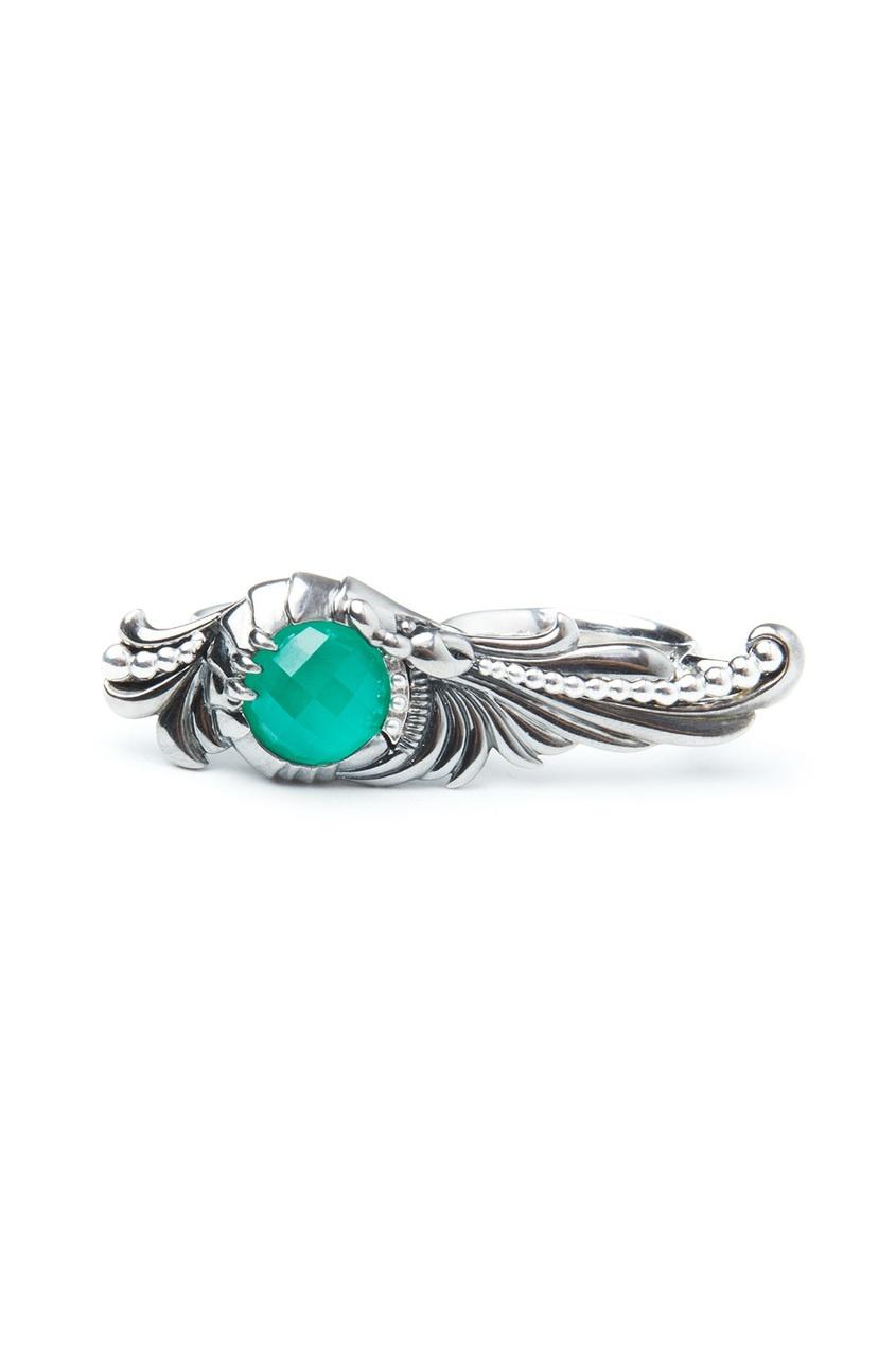 Серебряное кольцо с зеленым хризопразом и кварцем