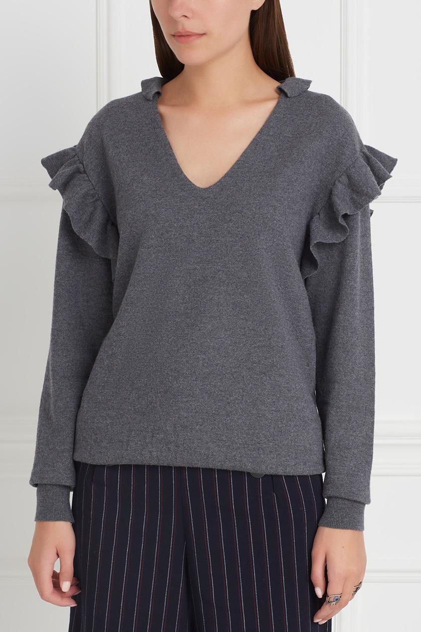Фото 5 - Шерстяной пуловер от Stella McCartney серого цвета