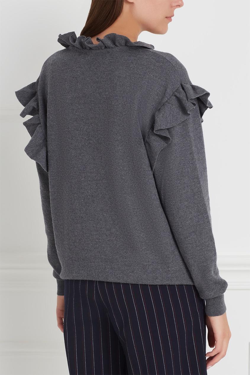 Фото 6 - Шерстяной пуловер от Stella McCartney серого цвета