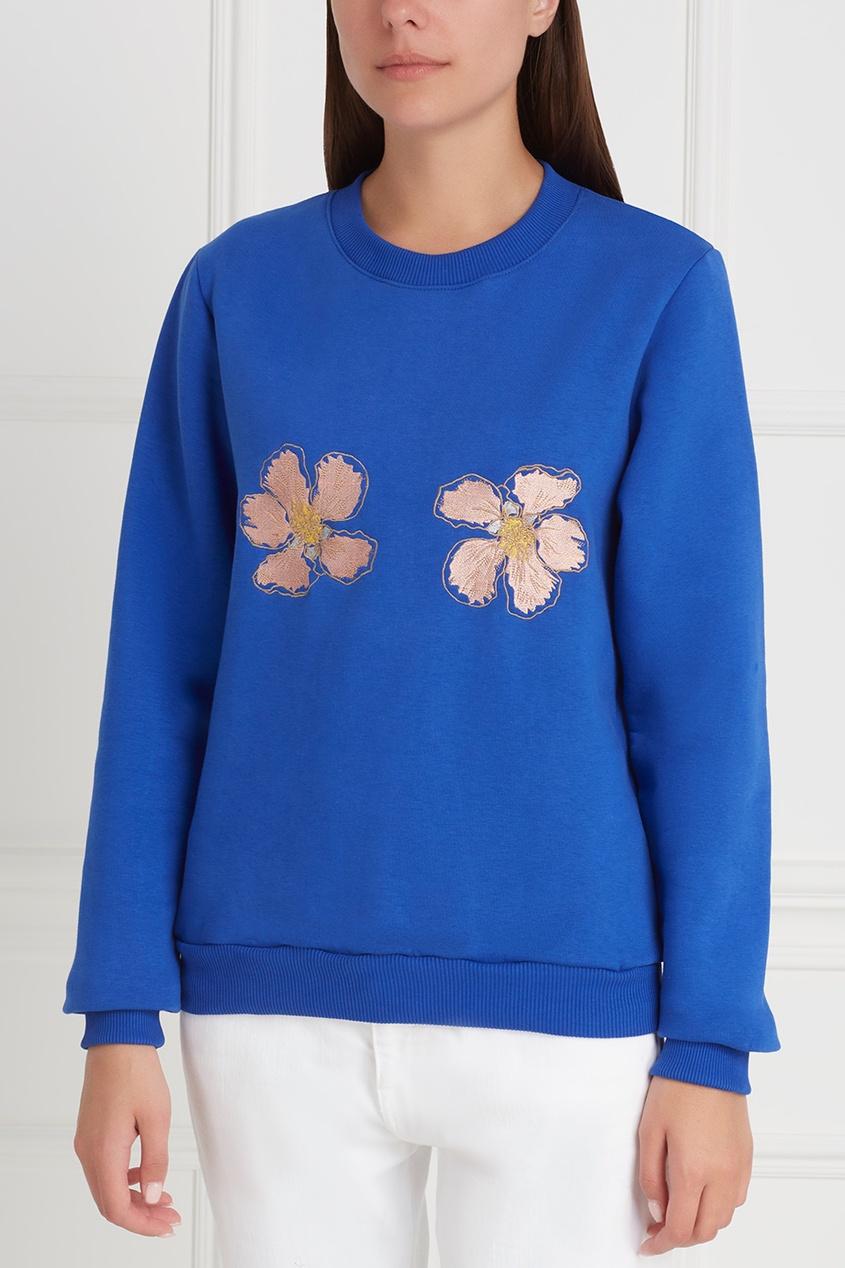Фото 2 - Хлопковый свитшот Flowers от Candyshop синего цвета