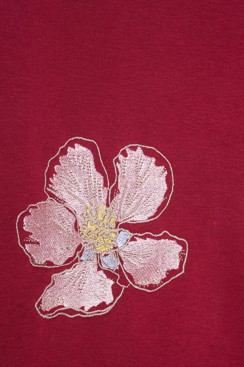 Фото 6 - Хлопковый свитшот Flowers от Candyshop красного цвета