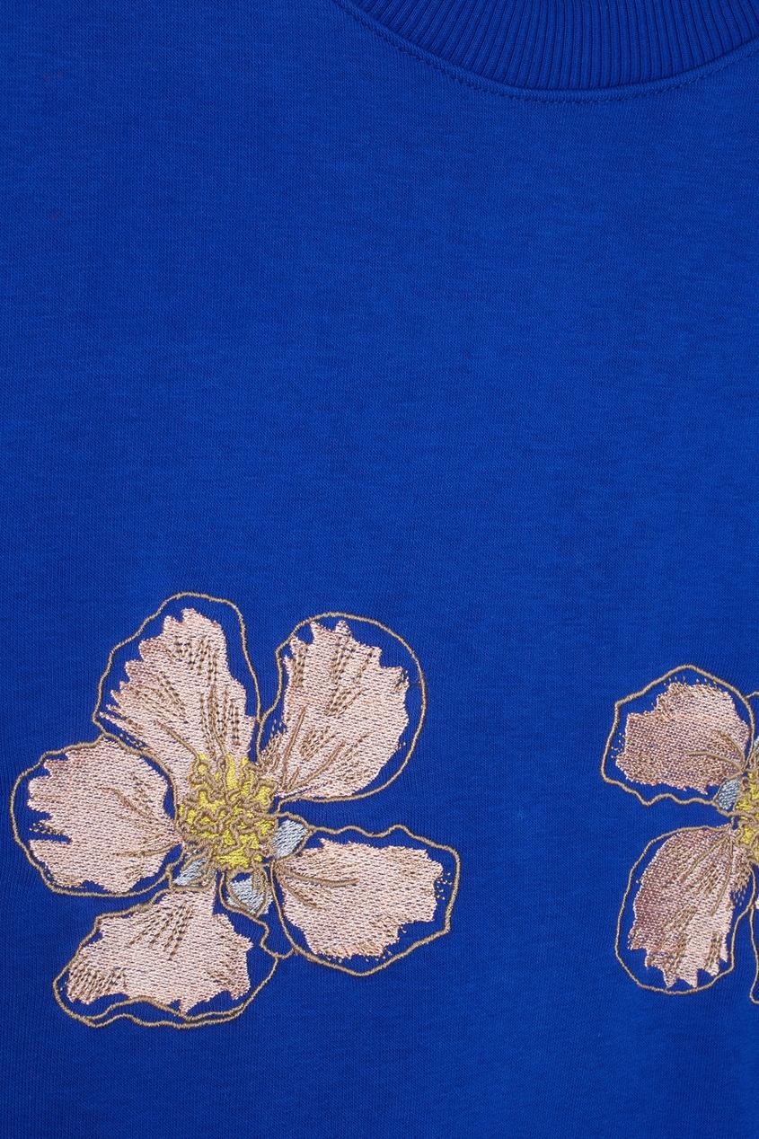 Фото 5 - Хлопковый свитшот Flowers от Candyshop синего цвета