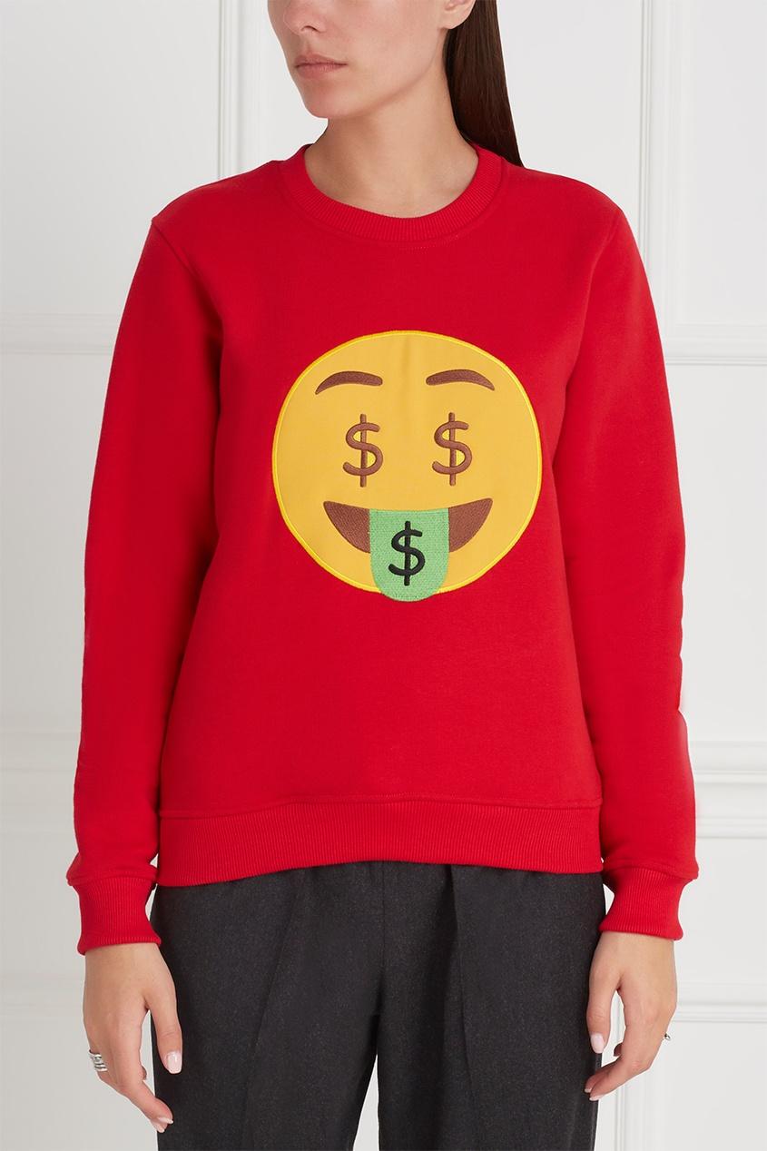 Фото 2 - Хлопковый свитшот Dollarsmile от Candyshop красного цвета
