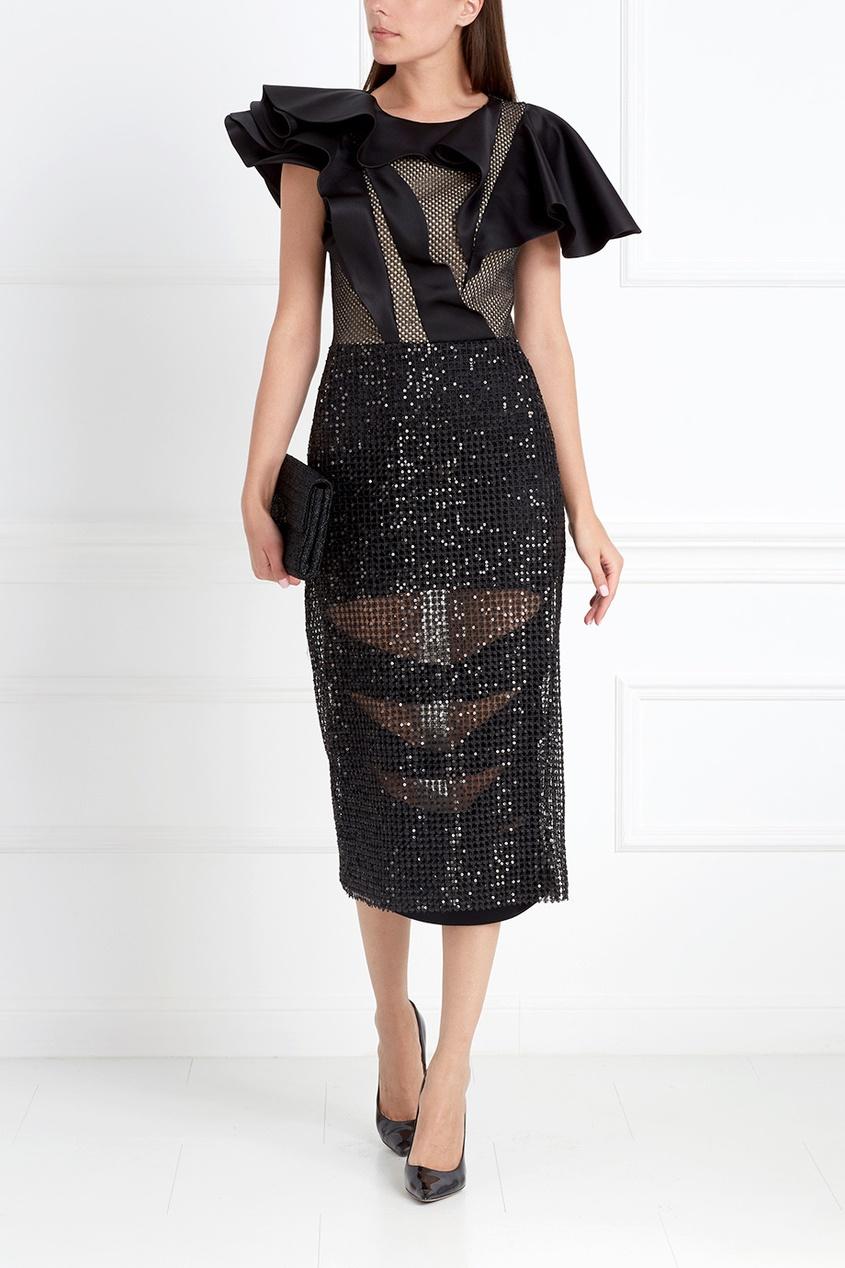 Фото 3 - Платье с пайетками от Chapurin черного цвета