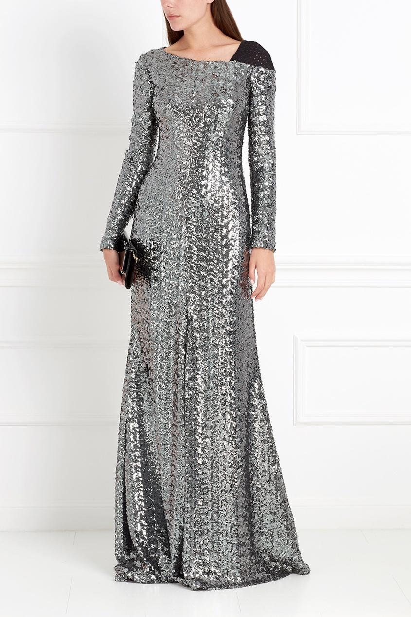 Фото 3 - Платье с пайетками от Chapurin серого цвета