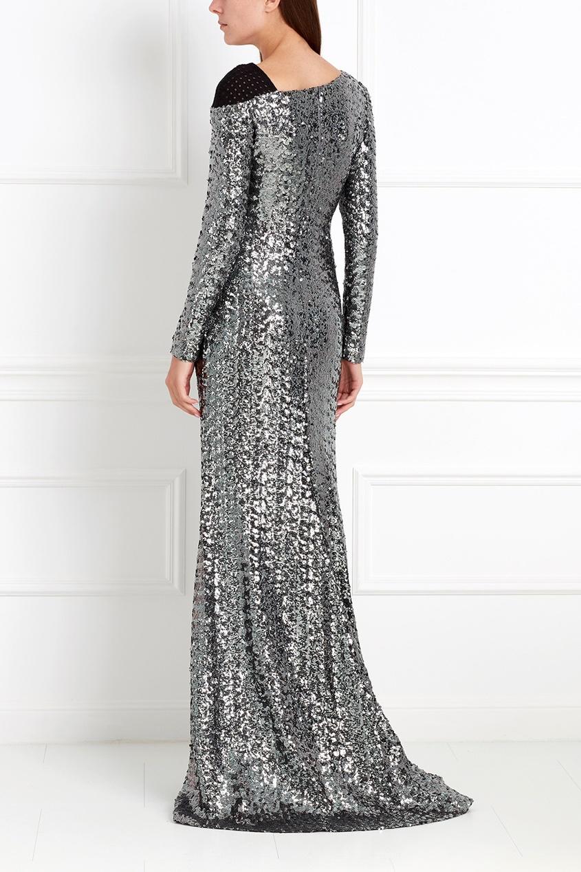 Фото 4 - Платье с пайетками от Chapurin серого цвета
