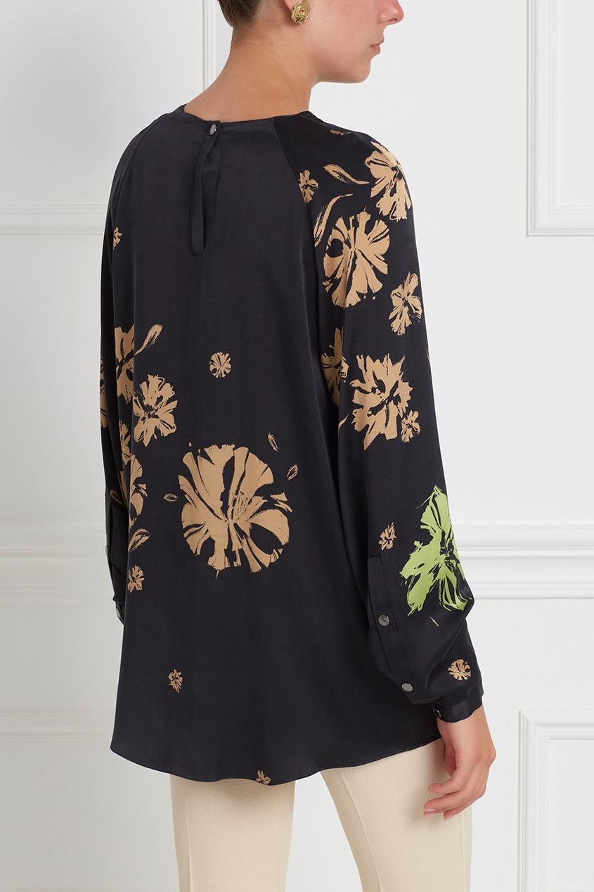 Фото 4 - Шелковая блузка от Chapurin черного цвета