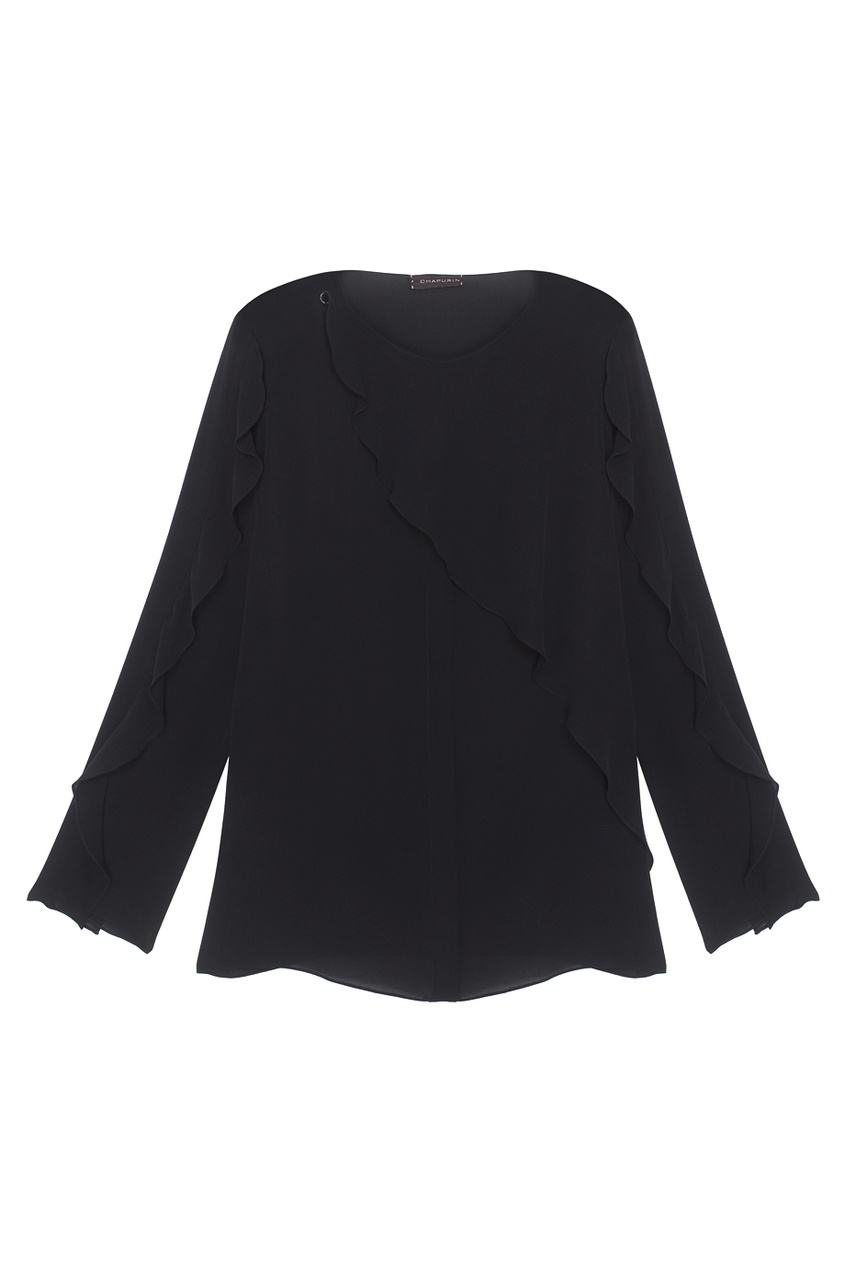 Фото 5 - Шелковая блузка от Chapurin черного цвета