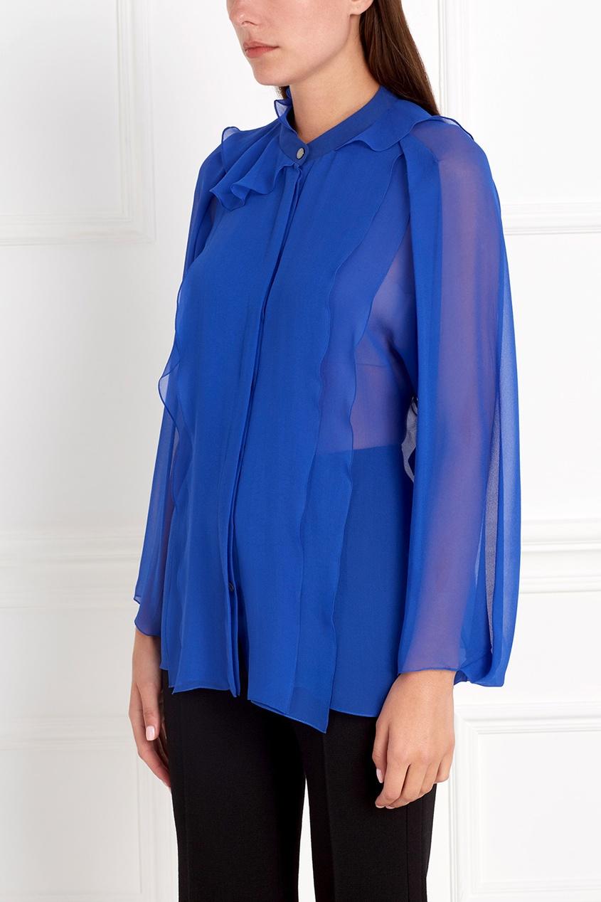 Фото 5 - Шелковая блузка от Chapurin синего цвета