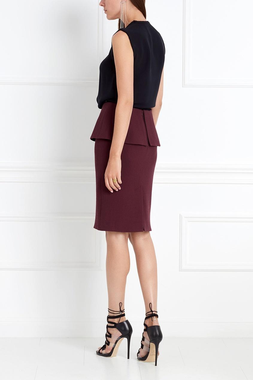 Фото 2 - Шерстяная юбка от Chapurin красного цвета