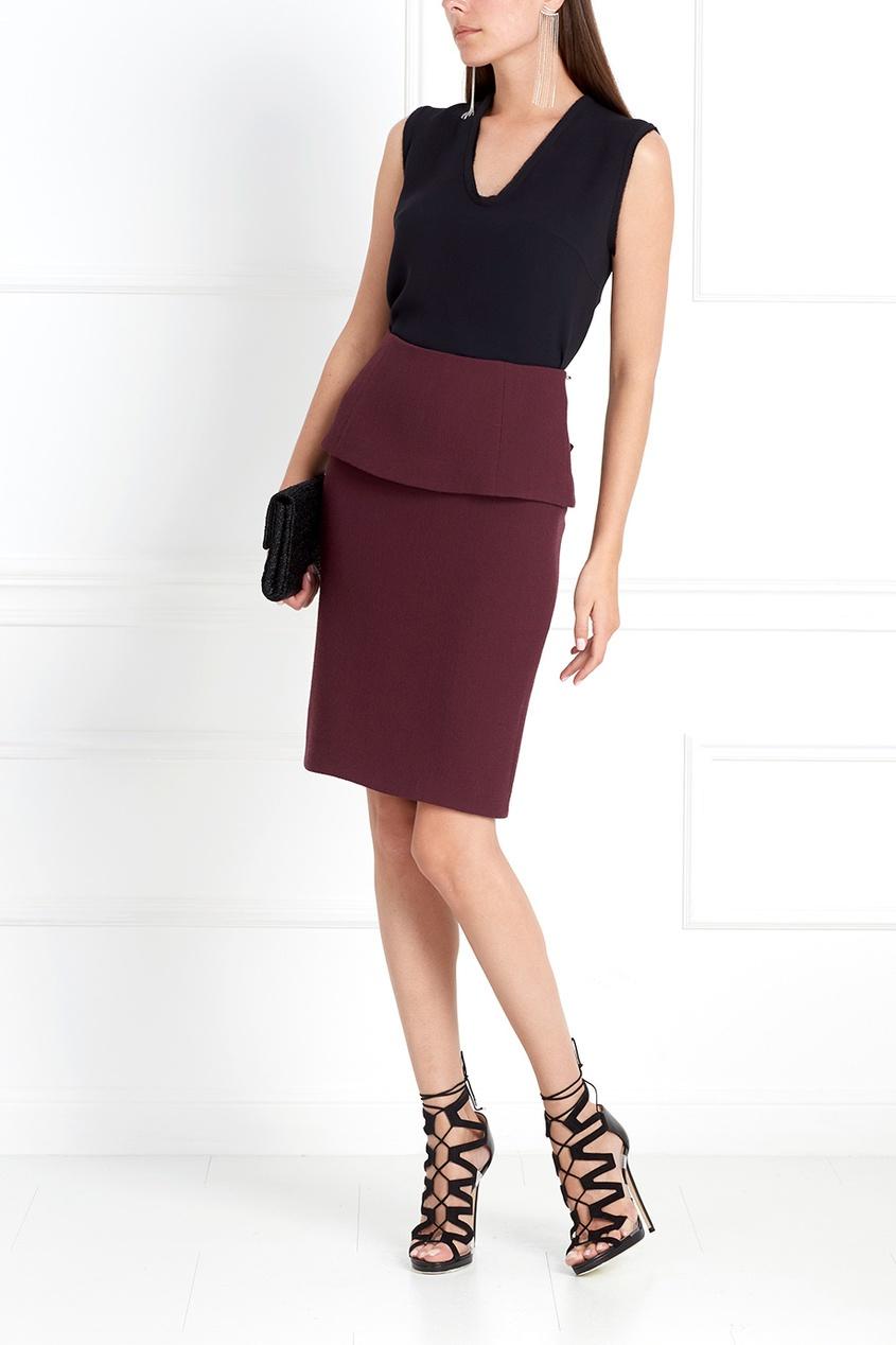 Фото 3 - Шерстяная юбка от Chapurin красного цвета