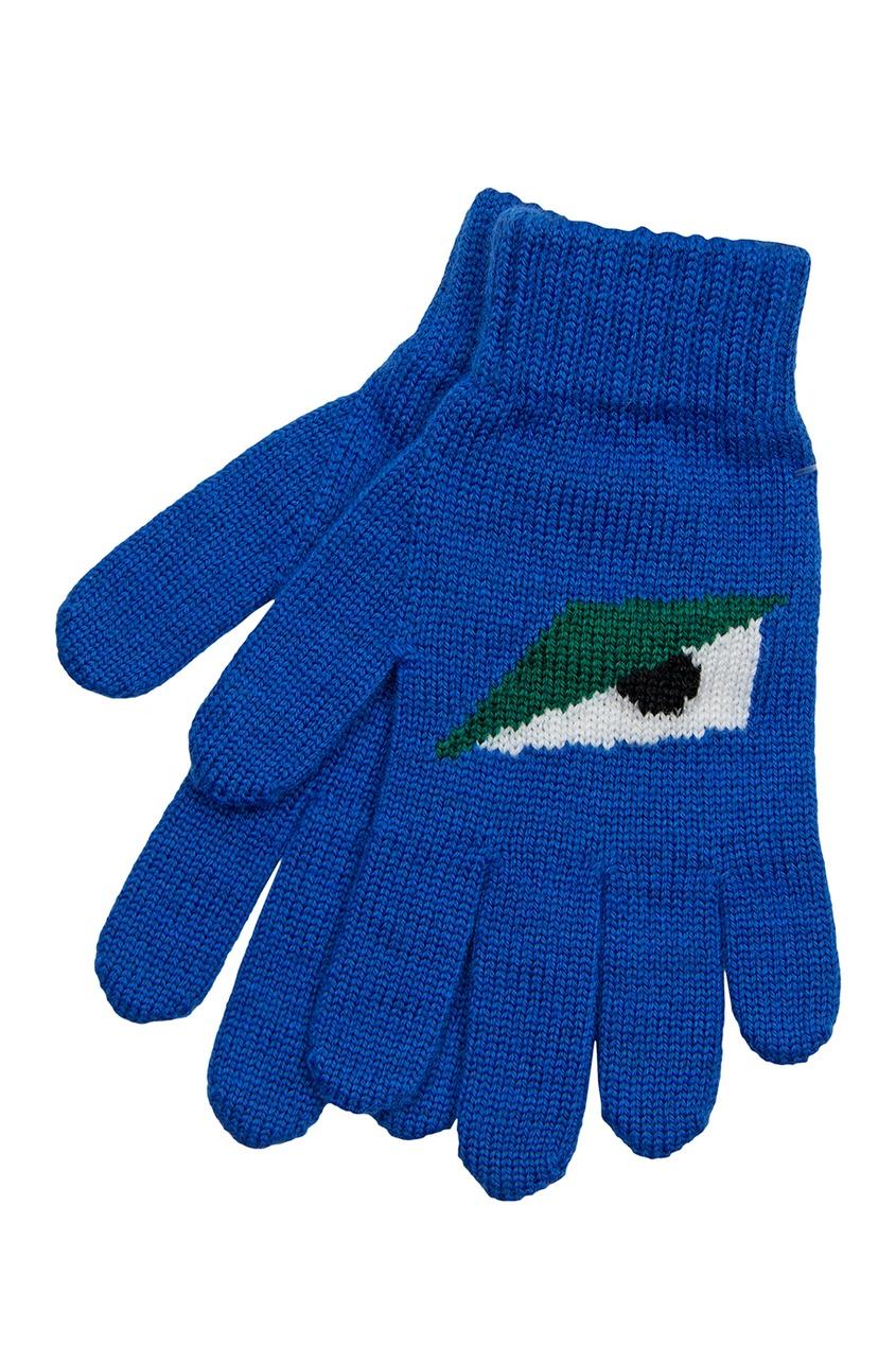 Перчатки Fendi. Цвет: синий