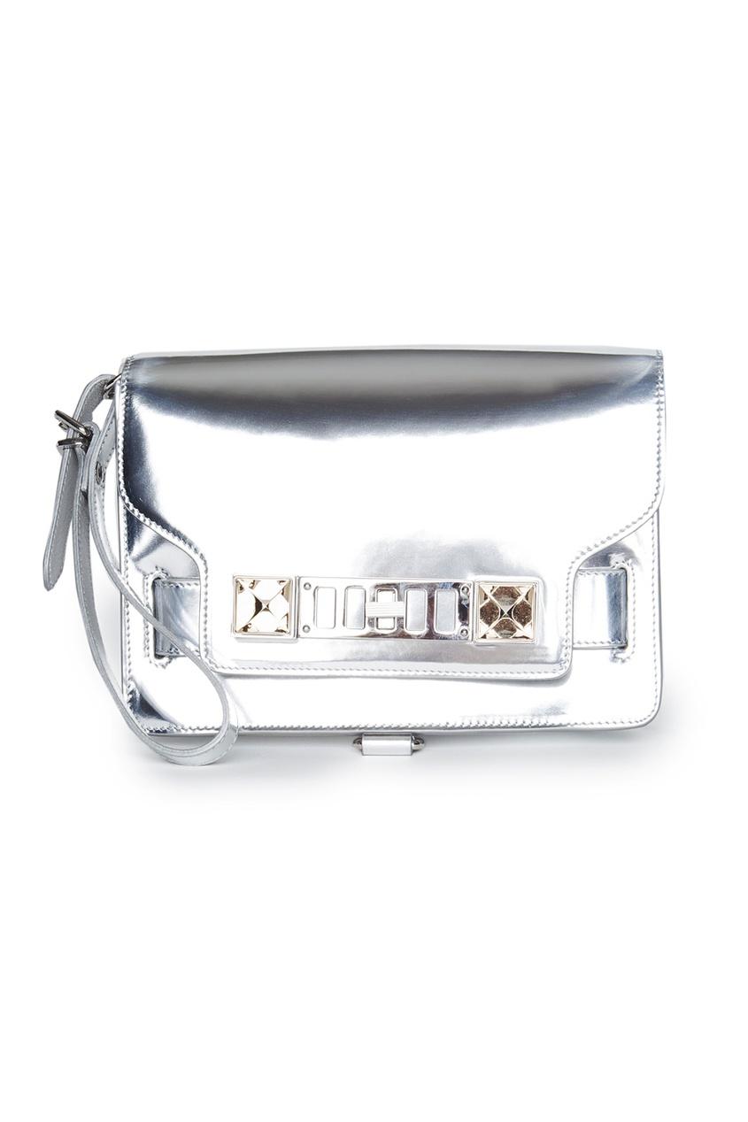 Proenza Schouler Кожаная серебристая сумка с пряжкой