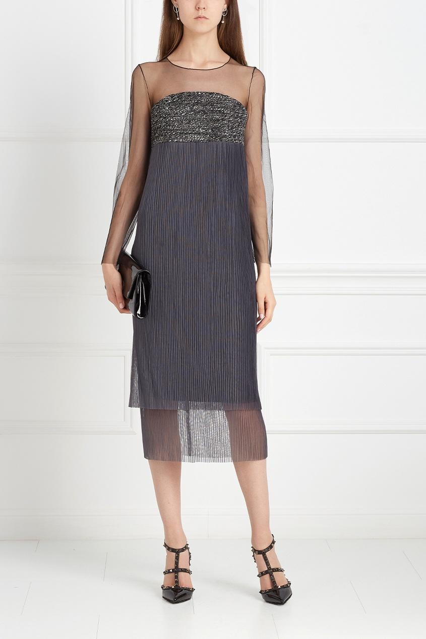 Платье с полупрозрачной тканью