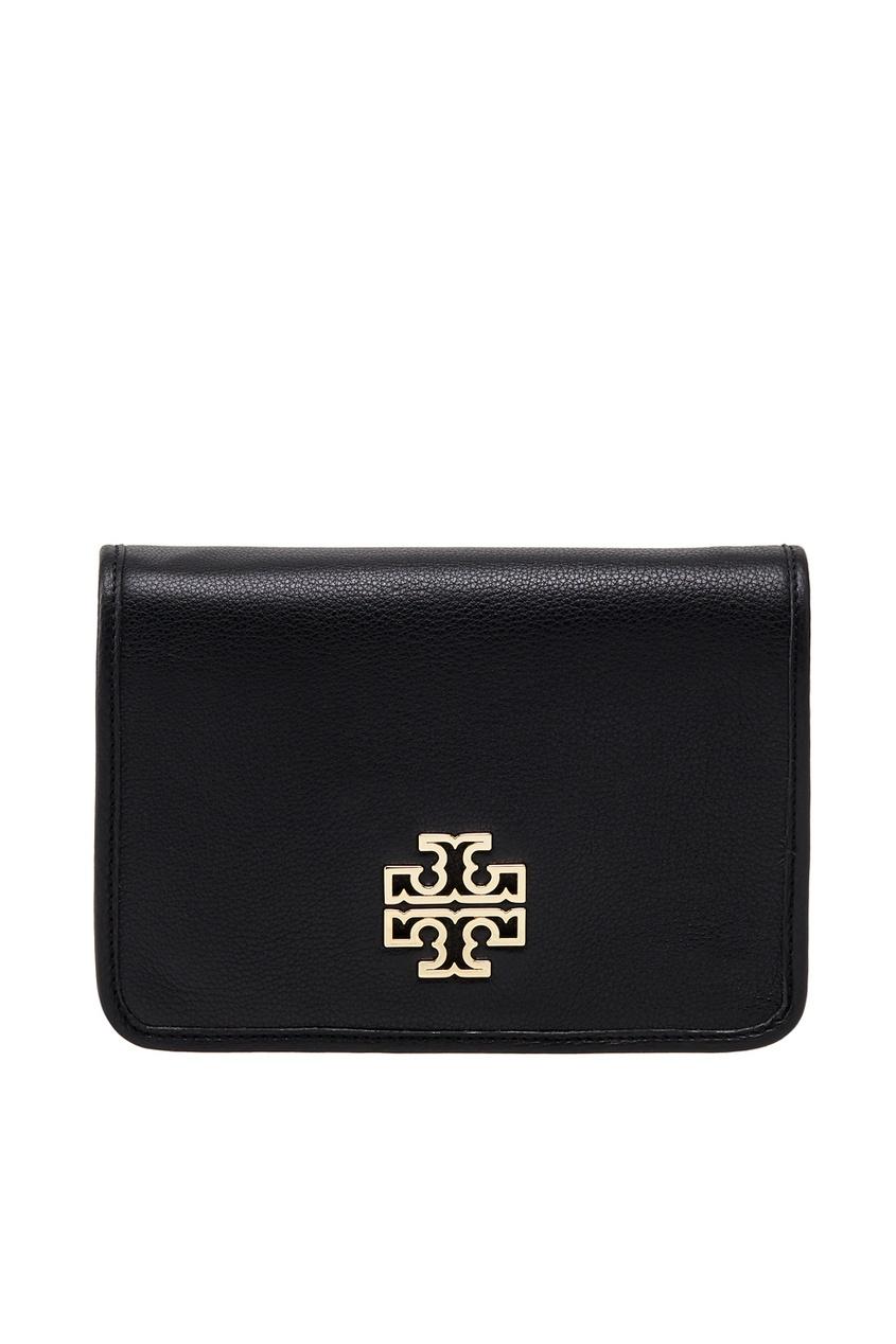 Фото 5 - Кожаная сумка от Tory Burch черного цвета