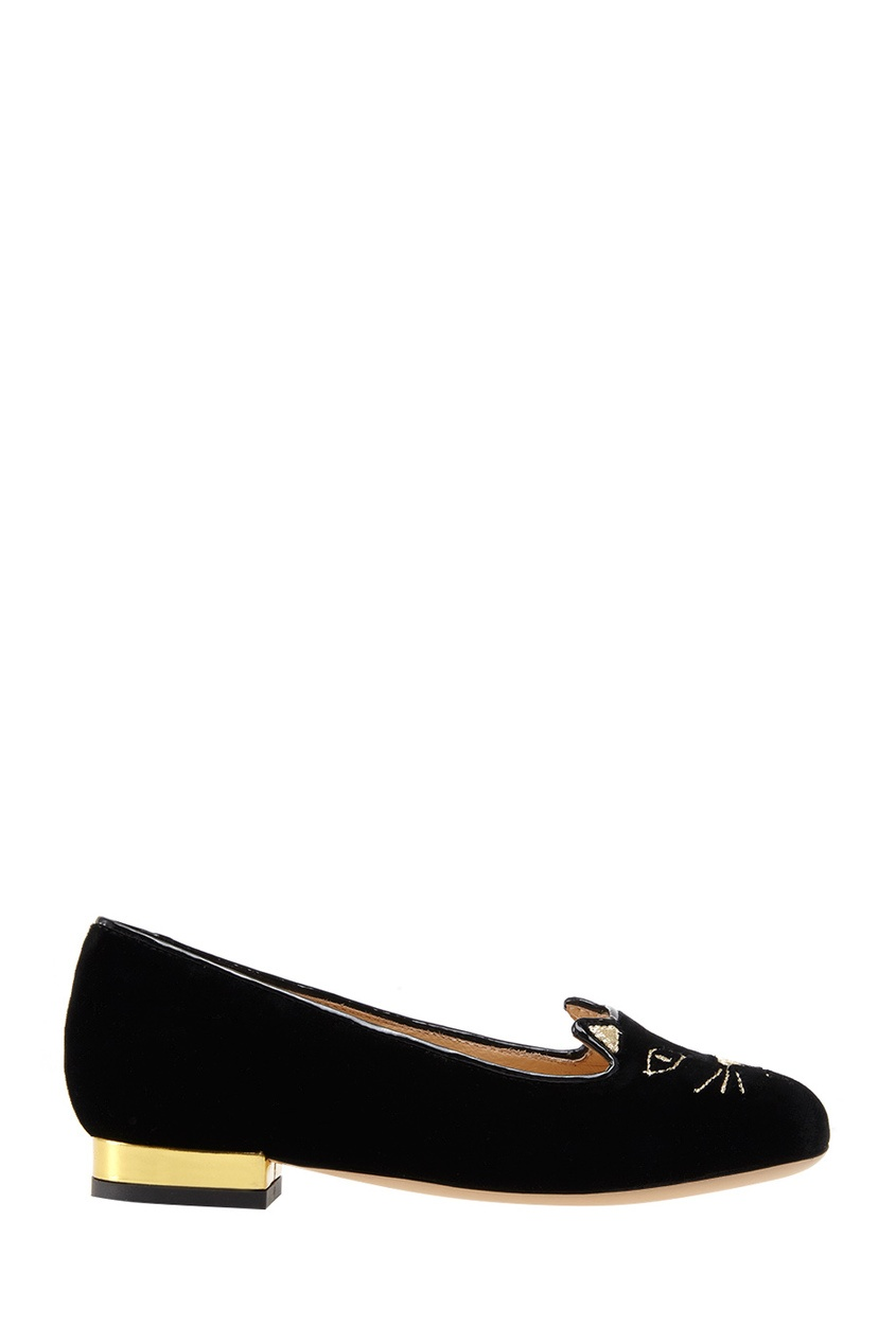 Incy by Charlotte Olympia Бархатные слиперы Incy Kitty Flats charlotte olympia эспадрильи из кожи и льна mischievous flats