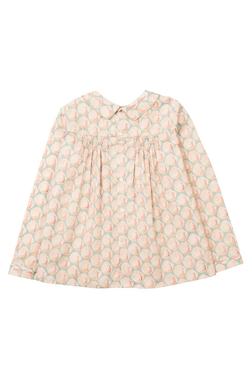 Фото 2 - Блузку с принтом Domi от Bonpoint розового цвета