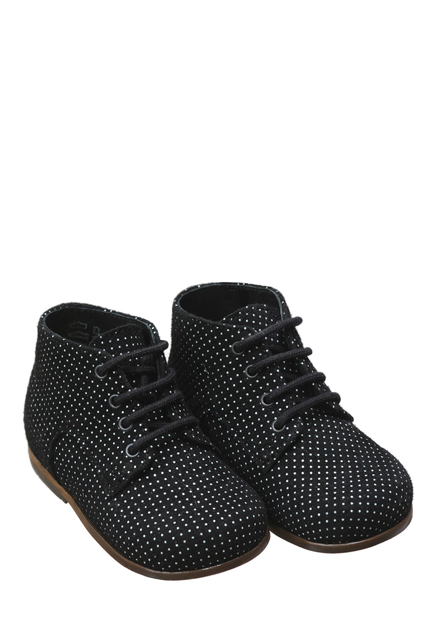Фото 2 - Замшевые ботинки Little Mary for Bonpoint черного цвета